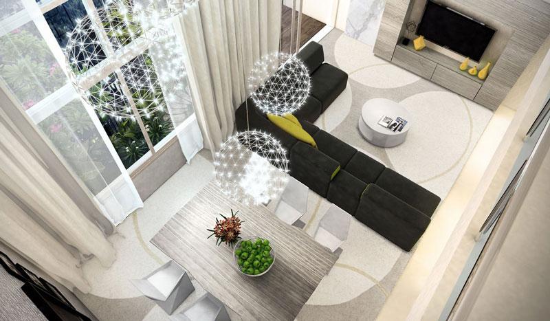 phòng khách và phòng bếp căn hộ Duplex Vista Verde Quận 2