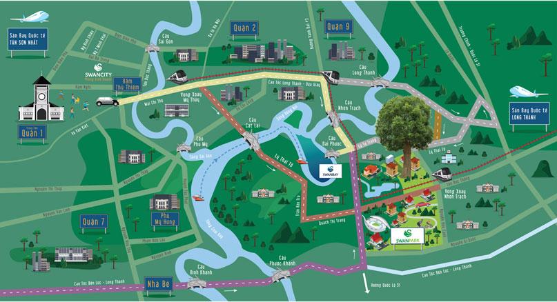 vị trí dự án Swan Park