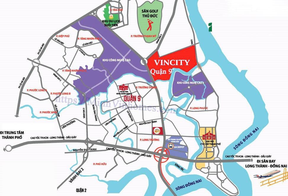 vị trí dự án Biệt Thự Vingroup Vincity Quận 9