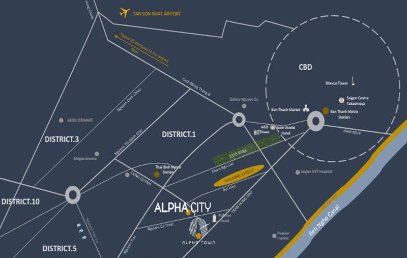 Vị trí dự án căn hộ Alpha City