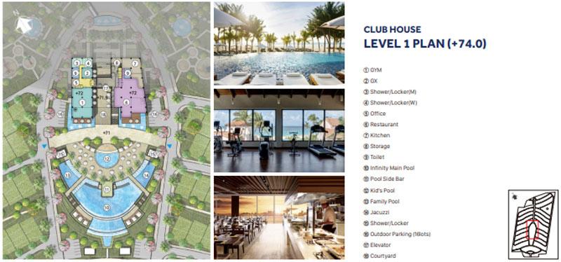 Mặt bằng tầng 1 Club House Nova Hill Phan Thiết