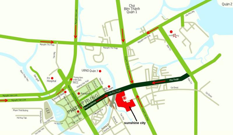 vị trí dự án Sunshine City Sài Gòn Quận 7