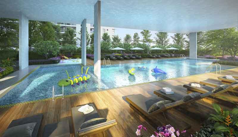 Hồ bơi hiện đại tại dự án căn hộ Hausbelo Quận 9