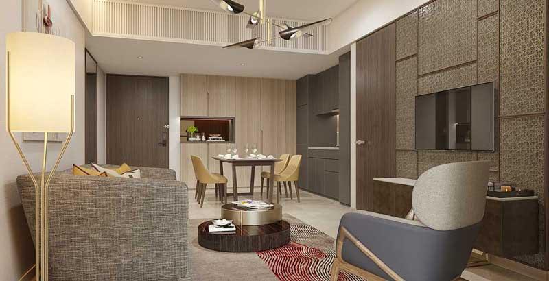 Phòng khách căn hộ 1 Phòng Ngủ Centennial Alpha King Ba Son