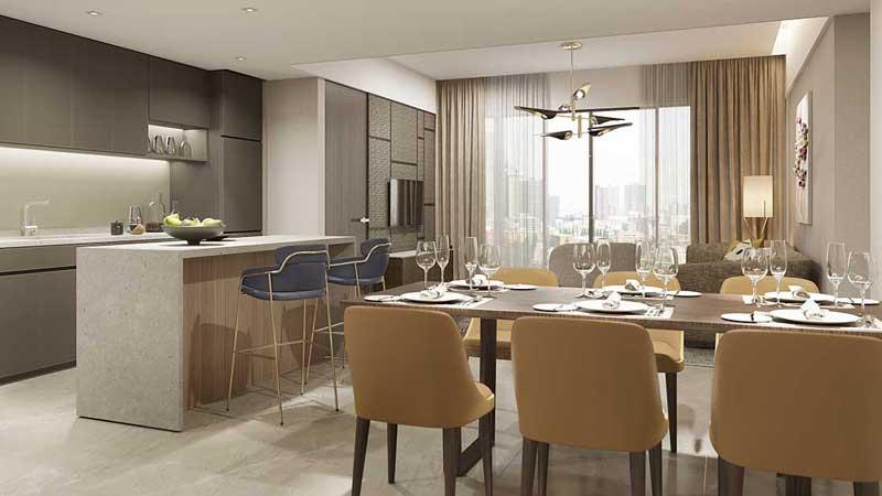 Phòng khách căn hộ 2 Phòng Ngủ Centennial Alpha King Ba Son