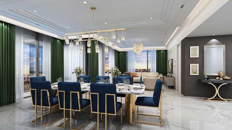 Phòng khách căn hộ 3 Phòng Ngủ Centennial Alpha King Ba Son