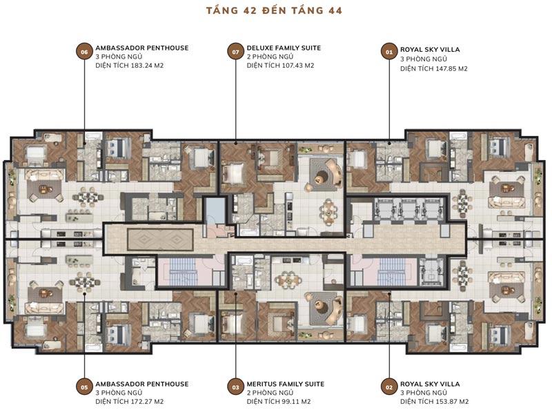 Mặt bằng căn hộ chung cư Centennial Alpha King BaSon từ tầng 42 đến tầng 44