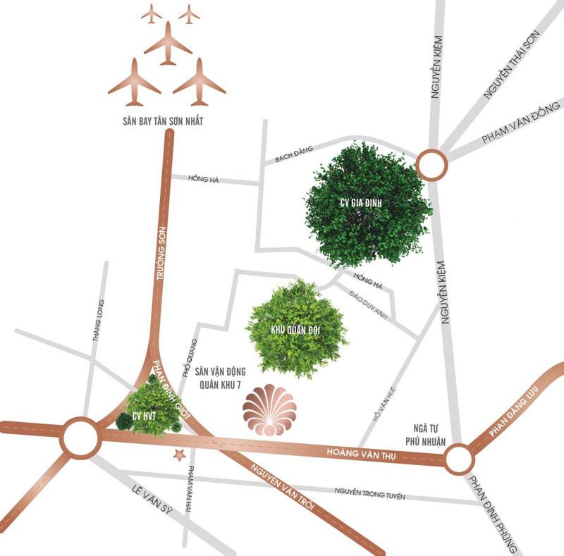 Vị trí dự án căn hộ T One Charmington Tân Sơn Nhất Phú Nhuận