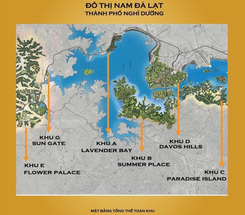 Mặt bằng tổng thể dự án khu đô thị Nam Đà Lạt Đại Ninh Group