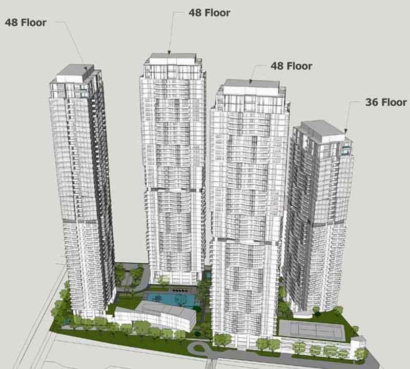 Phối cảnh thiết kế 4 tòa căn hộ tại dự án Masteri Parkland Q2
