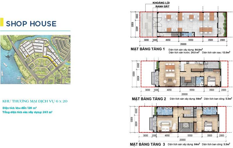 Mặt bằng thiết kế Shophouse Aqua City Đồng Nai 8x20