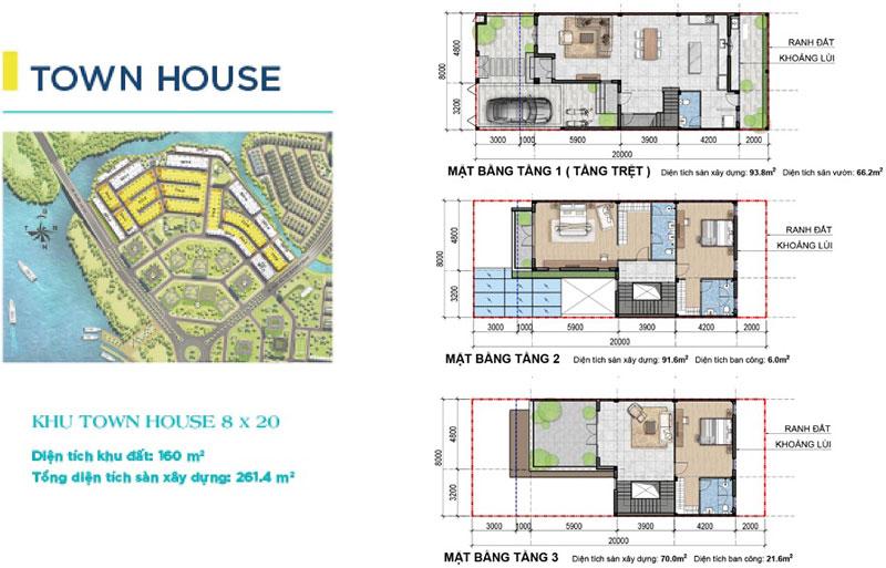 Mặt bằng thiết kế Nhà Phố Town House 8x20 Aqua City Novaland