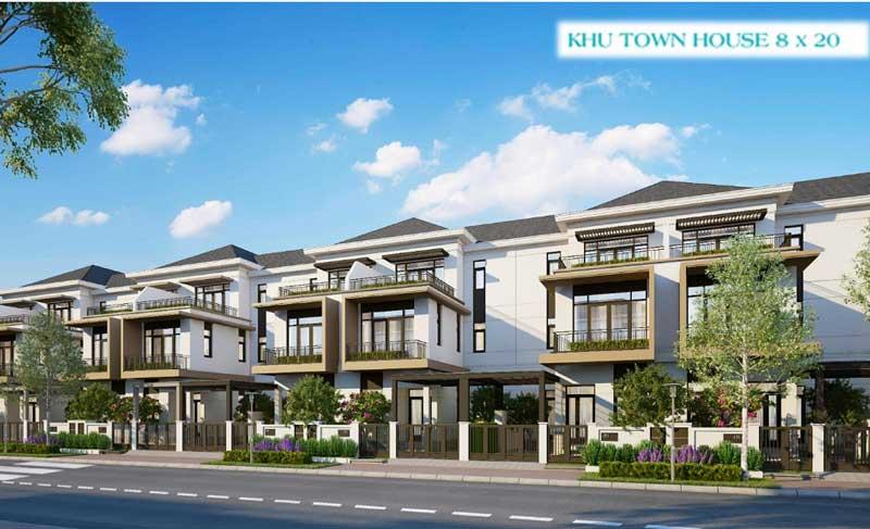 Phối cảnh Nhà Phố Town House 8x20 Aqua City Novaland