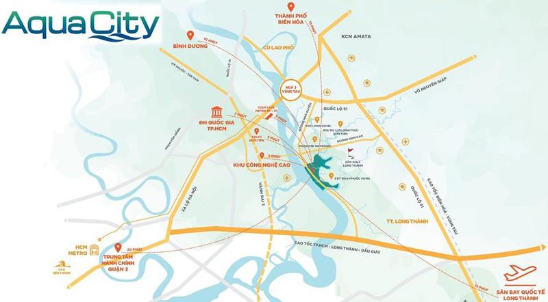 Vị trí dự án Aqua City Long Hưng Biên Hòa Đồng Nai