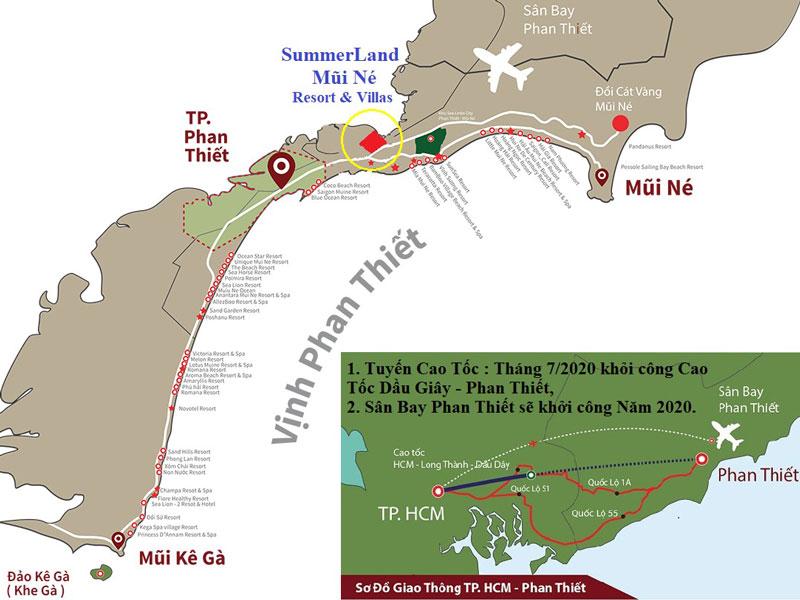 Sơ đồ vị trí dự án Mũi Né Summerland Resort Hưng lộc phát Phan Thiết