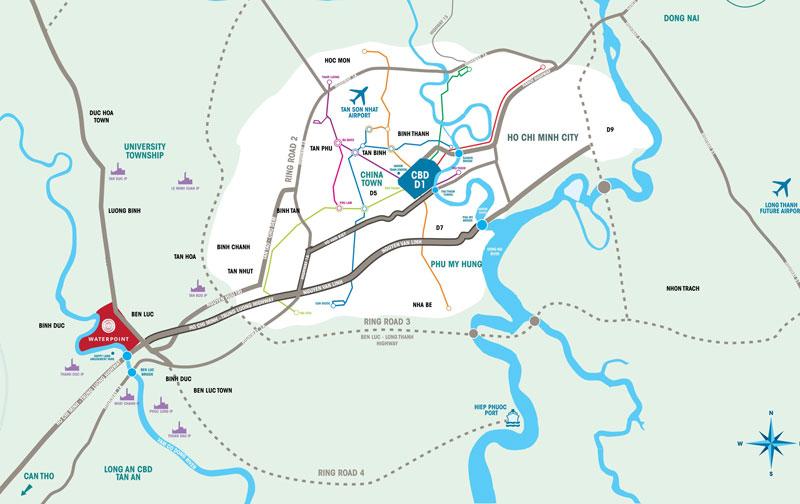 Vị trí của dự án Water Point của Nam Long tại Bến Lức Long An