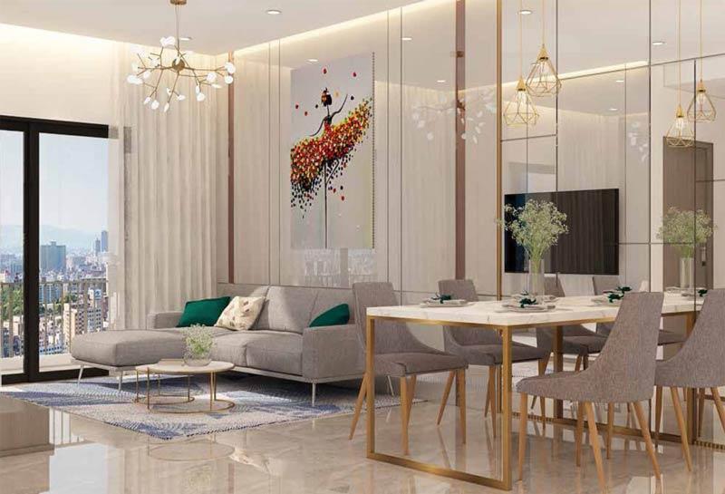 Khu vực bàn ăn nhìn ra phòng khách của căn hộ