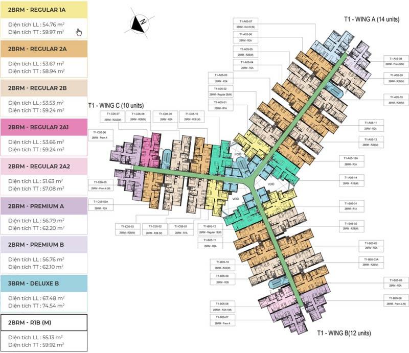 Mặt bằng tầng điển hình của dự án Metro Quận 9 bố trí rất khoa học cho từng căn hộ