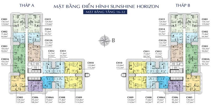 Mặt bằng điển hình chung cư Sunshine Horizon Q4