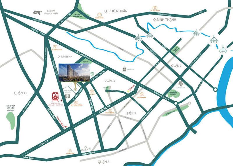 Địa chỉ vị trí dự án căn hộ Sunshine Continental Tô Hiến Thành & Thành Thái Quận 10