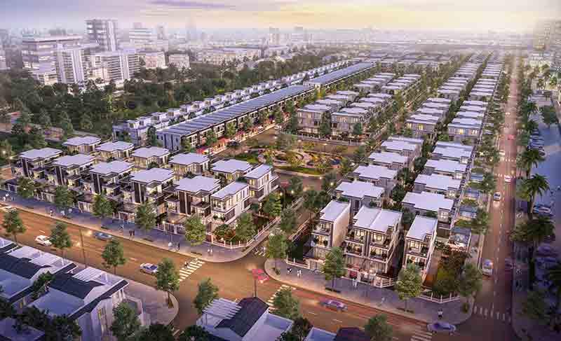 Phối cảnh 1 khu nhà phố và biệt thự trong dự án khu đô thị mới đông tăng long tại quận 9