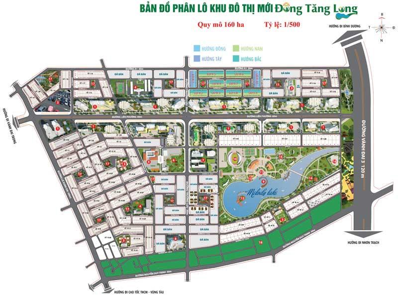 Mặt bằng thiết kế và bản đồ phân lô dự án nhà phố biệt thự tại khu đô thị Đông Tăng Long Quận 9
