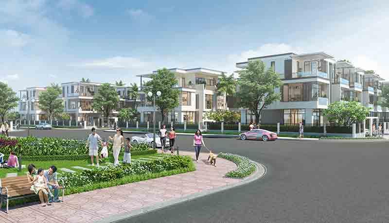 Phối cảnh các căn nhà phố liền kề và biệt thự ở KDT đông tăng long